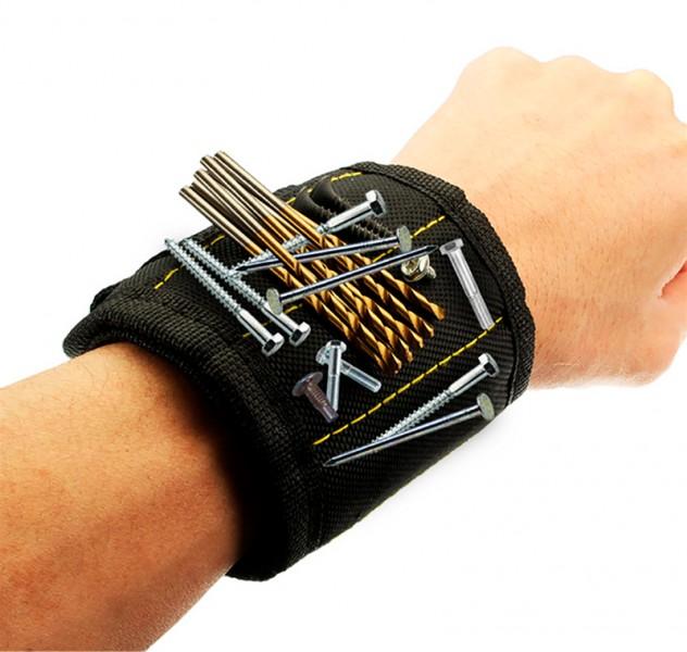 Магнитный строительный браслет черный