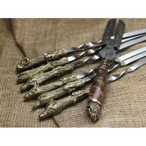 Шампура подарочные Охотничий трофей с вилкой для снятия мяса