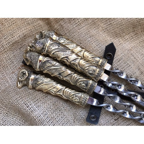 Шампура подарочные На привале в колчане из натуральной кожи