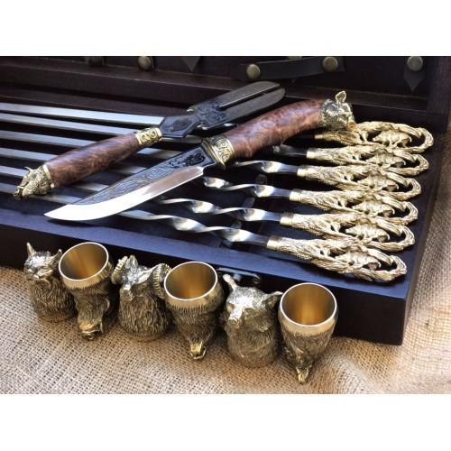 Кабан Эксклюзивный набор для шашлыка. Шампура+рюмки
