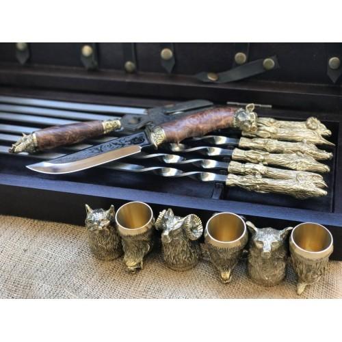 Охотничий трофей Эксклюзивный набор для шашлыка. Шампура+рюмки