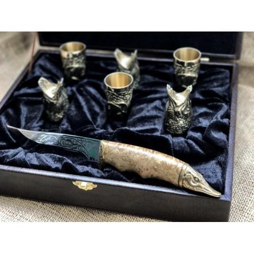 Набор бронзовых чарок Царский улов с ножом