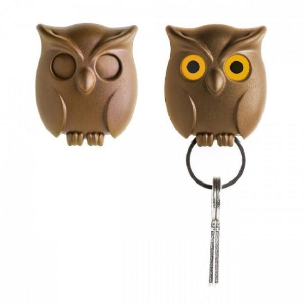 Ключница настенная Night Owl Qualy Коричневая