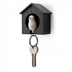 Ключница настенная и брелок для ключей Sparrow Qualy Черный / Белый