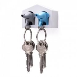 Ключница настенная и брелки для ключей Duo Elephant Qualy Синий / Серый