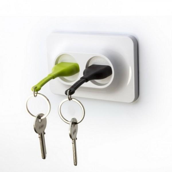 Ключница настенная и брелки для ключей Double Unplug Qualy Зеленый / Черный / Белый