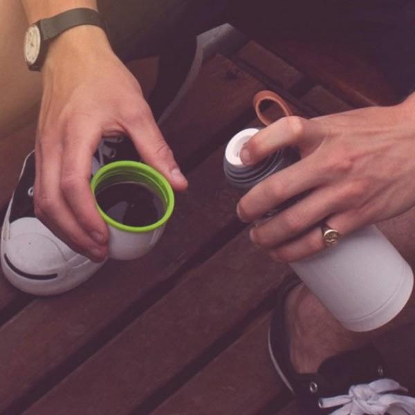 Термос стальной Thermo Flask Black+Blum Белый / Зеленый