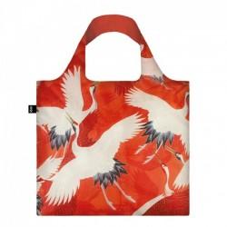 Сумка для покупок складная WOMANS HAORI White and Red Cranes LOQI