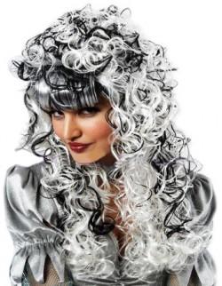 Парик бело-черный с длинными кучерявыми волосами