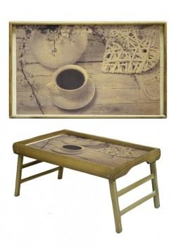 Столик для завтрака Кофе и плетенное сердце