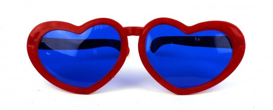 Карнавальные очки гигант Сердечки красные