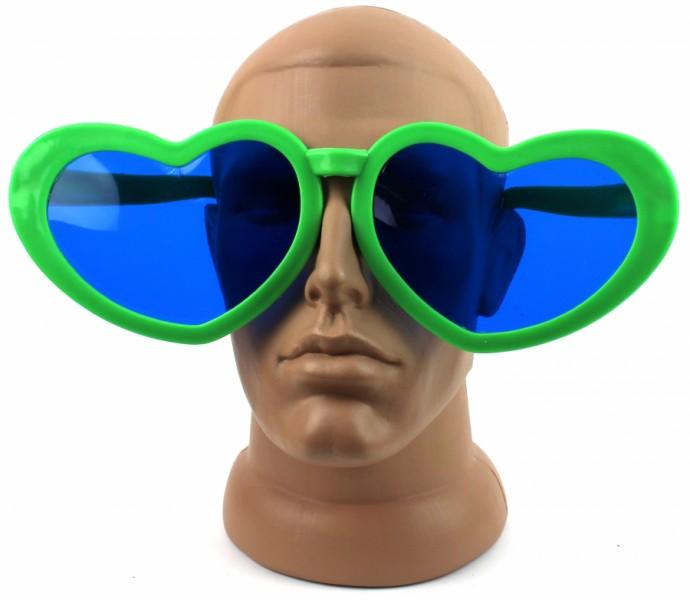 Очки для вечеринки Сердечки зеленые
