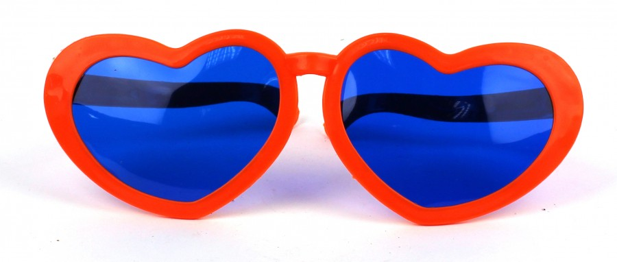 Очки для карнавала Сердечки оранжевые