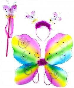 Набор бабочки - крылья радужные с камнями