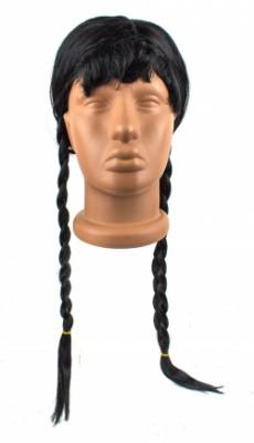 Парик черный с двумя косами