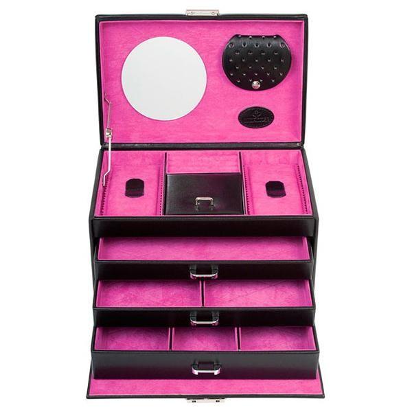 Шкатулка для украшений, 9 Black, черный/розовый