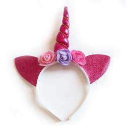 Ушки Единорога на ободке розовые