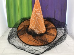 Колпак Паутина с вуалью оранжевый