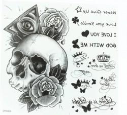 Переводное тату на тело Череп с розой и надписи