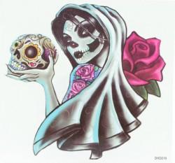 Переводное тату на тело Мертвая невеста