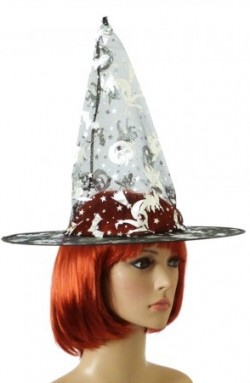 Колпак Ведьмы капроновая черная с серебром