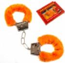 Наручники с мехом оранжевые