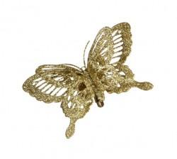 Украшение декоративное клипса Бабочка золотистая