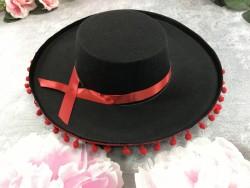 Шляпа Сомбреро с красными бубонами детская