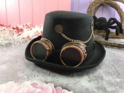 Шляпа Часовщик с очками гогглы