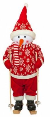 Фигурка новогодняя веселый красный снеговик, 82 см