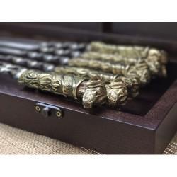 Комплект шампуров Верный друг в кейсе из натурального дерева