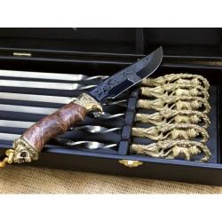 Набор шампуров Лев с ножом в кейсе