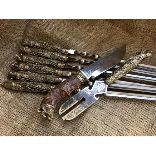 Шампура подарочные Дикие звери с вилкой для снятия мяса и ножом