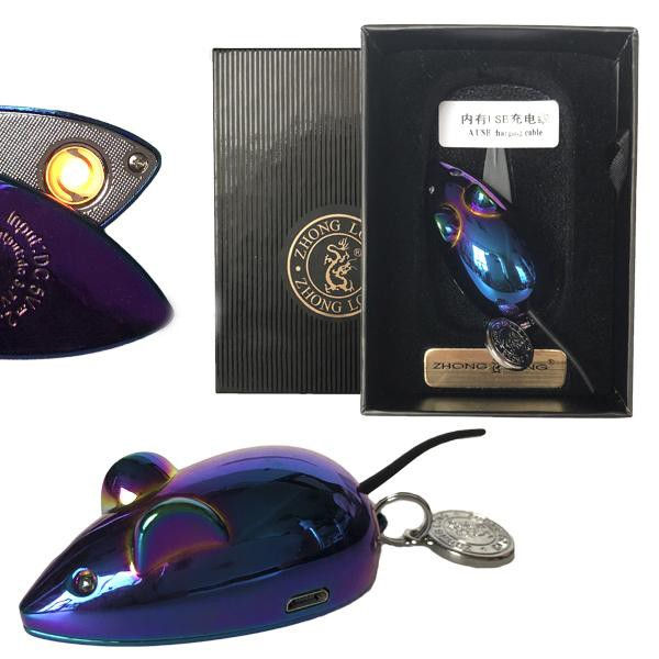 Зажигалка USB LIGHTER с зарядкой мышка с хвостиком горящие глазки