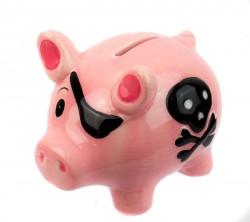 Копилка Свинка пират розовая