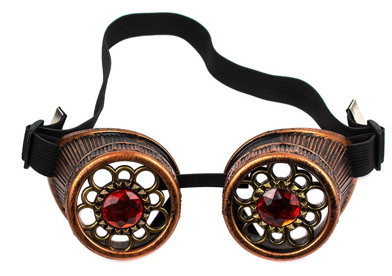 Очки Стимпанк с кристаллами бронза