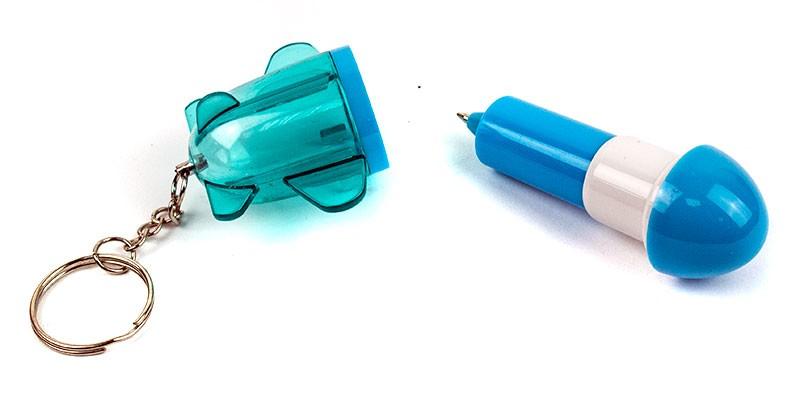 Брелок ручка ракета синяя