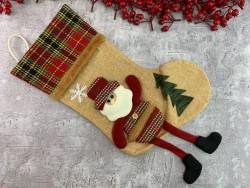 Рождественский носок Christmas sock бежевый
