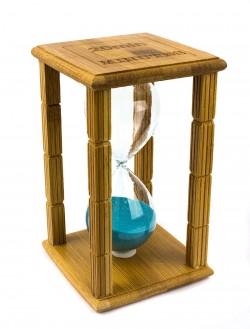 Часы песочные в бамбуке с голубым песком 20 минут