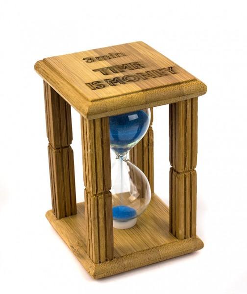 Часы песочные в бамбуке Time is money с синим песком