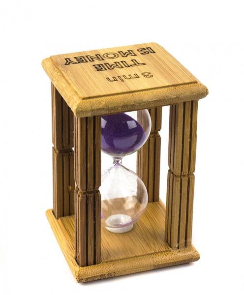 Часы песочные в бамбуке Time is Money с фиолетовым песком