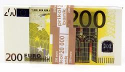 Денежный блокнот пачка 200 евро