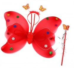 Крылья бабочки с цветочками набор  красные