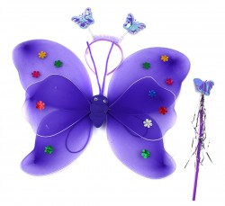 Крылья бабочки сиреневые с цветочками набор
