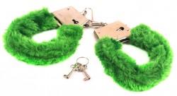 Наручники с мехом зеленые