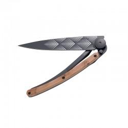 Нож Deejo Tattoo Wood Black 37 g, Juniper, Art Deco