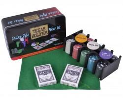 Покерный набор на 200 фишек с номиналом в металлической коробке Техасский холдем
