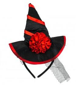 Шляпка на ободке Ведьмочки с розой красная