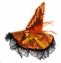 Шляпка на ободке Ведьмочки с кружевом оранжевая