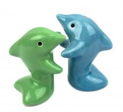 Солонка с перечницей Дельфины зелено-голубые
